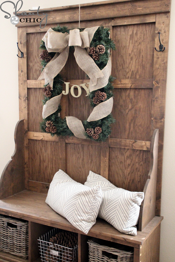 diy rectangle christmas wreath shanty 2 chic. Black Bedroom Furniture Sets. Home Design Ideas