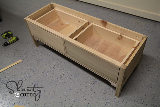 Wood Bench With Drawers ~ Pottery barn knockoff bench shanty chic