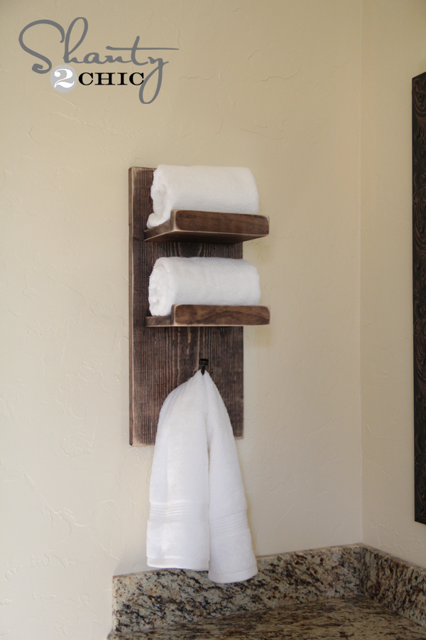 super cute diy towel holder shanty 2 chic. Black Bedroom Furniture Sets. Home Design Ideas