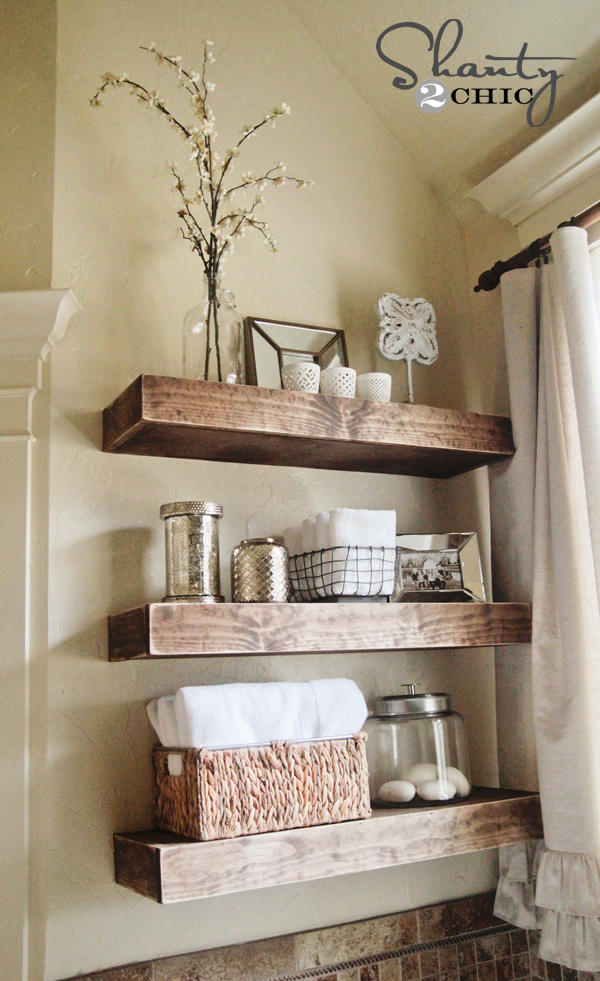 Easy diy floating shelves shanty 2 chic - How to decorate a bathroom counter ...