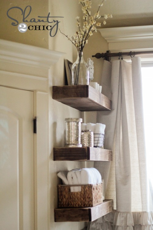 Floating Shelves Bathroom Decor : Easy diy floating shelves shanty chic