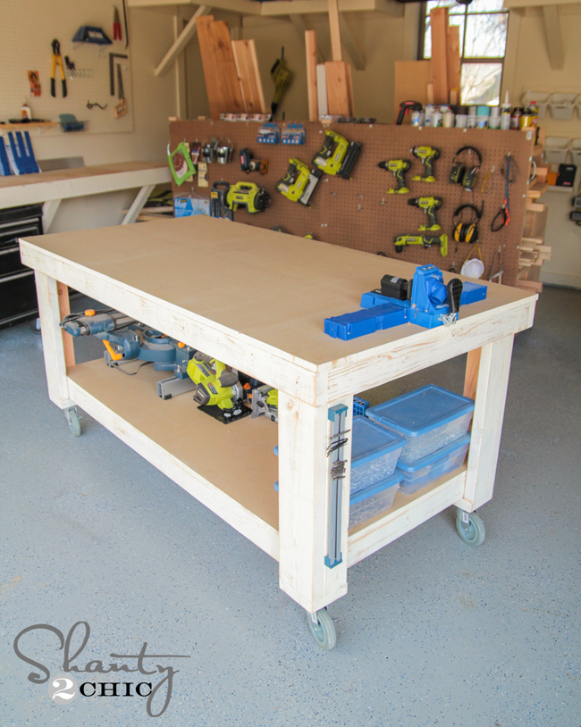 New year new workbench baby shanty 2 chic for Diy garage plans