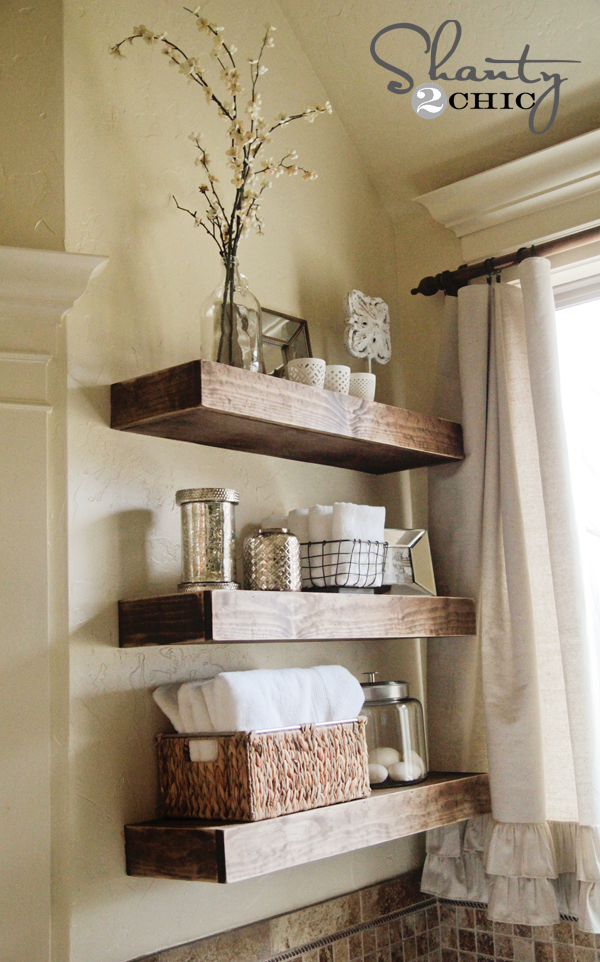 bathroom wall shelving ideas easy diy floating shelves shanty 2 chic 16195