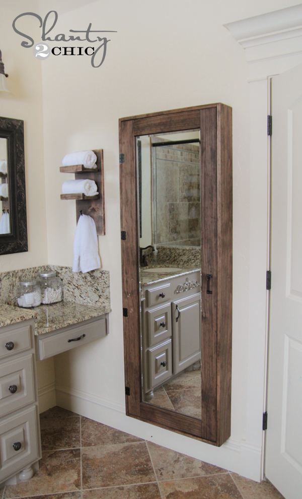Diy bathroom mirror storage case shanty 2 chic - Bathroom mirror with hidden storage ...