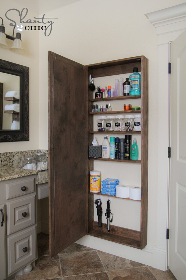 DIY Bathroom Storage Cabinet. DIY Bathroom Mirror Storage Case   Shanty 2 Chic