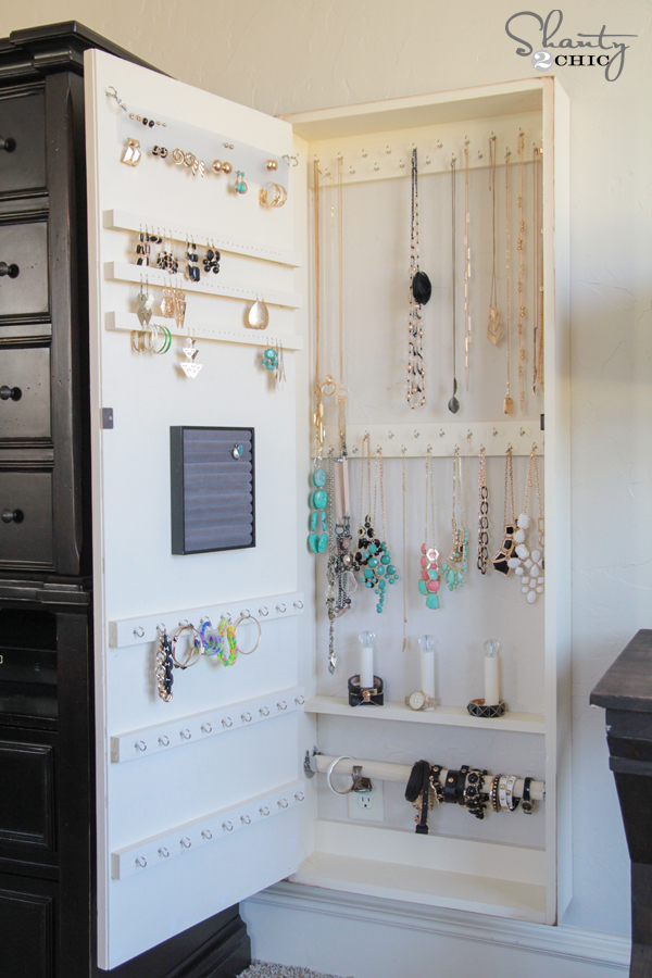 DIY Jewelry Storage Case · Jewelry Cabinet DIY - DIY Jewelry Organizer!! - Shanty 2 Chic