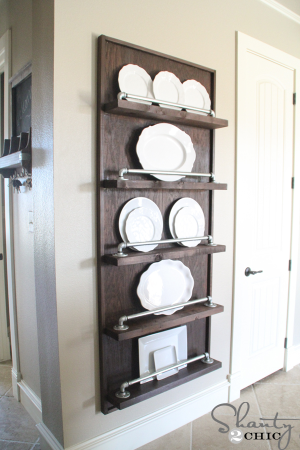 Diy Industrial Pipe Plate Rack Shanty 2 Chic