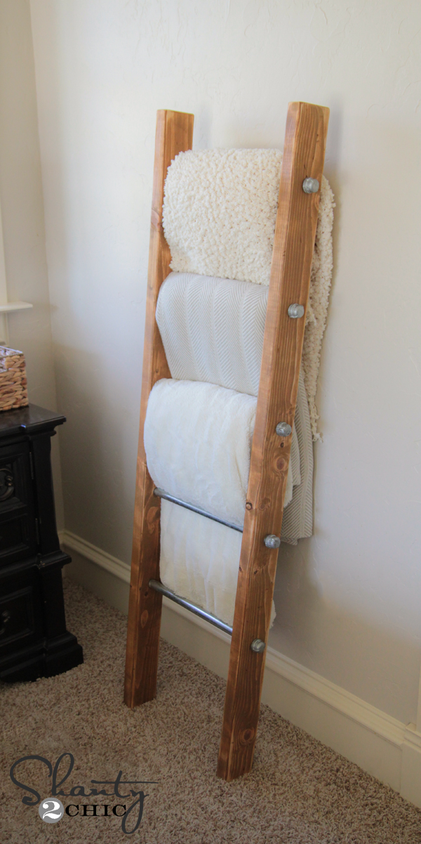 DIY Wood and Metal Pipe Blanket Ladder - Shanty 2 Chic