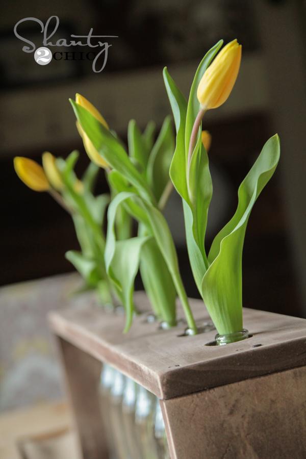 diy玻璃樽+木头组合花瓶