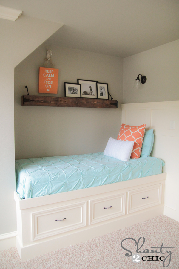 DIY Built-In Storage Bed - Shanty 2 Chic