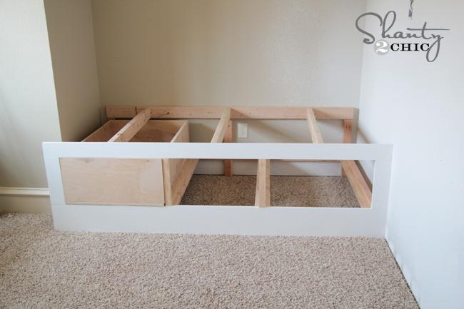 DIY Built-In Storage Bed - Shanty 2 Chic