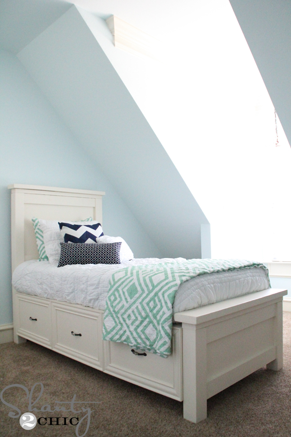 DIY Twin Storage Bed - Shanty 2 Chic