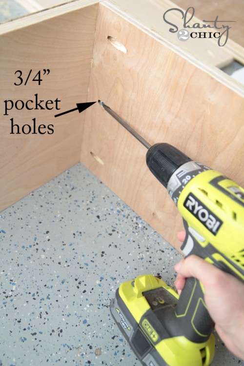 Pocket holes for drawers