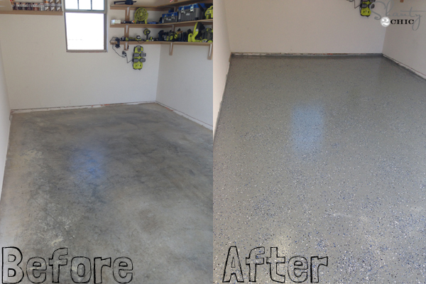 Epoxy Before And After : Easy garage floor coating and a giveaway shanty chic