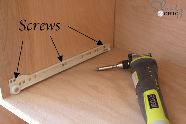 I Install A Screw At The Beginning Middle And End Of The Drawer Slide I Did This On The Other Side Of The Frame Too