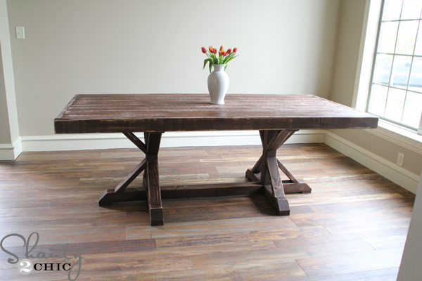 Restoration hardware inspired dining table for 110 for Dining room table designs plans