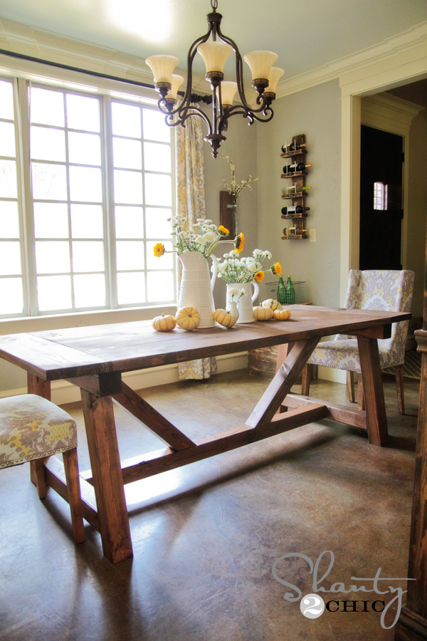 Restoration hardware inspired dining table for 110 for Ana white x dining room table