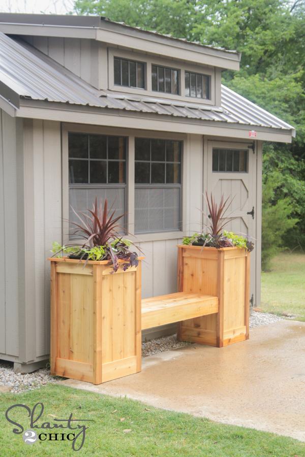 Diy planter box bench shanty 2 chic for Tapered planter box plans