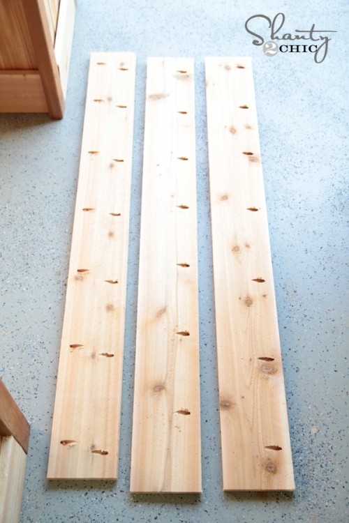 Pocket holes for bench