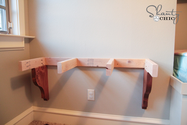 Diy corbel desk for 85 shanty 2 chic for Diy wall to wall desk