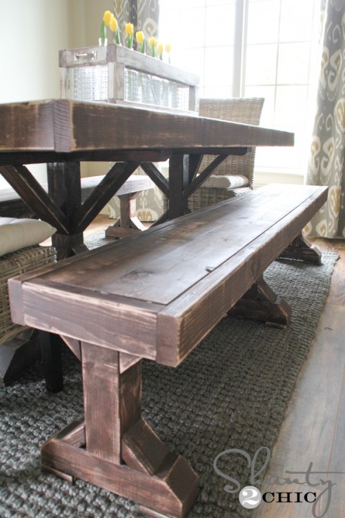dining room bench table | DIY Benches for my Dining Table - Shanty 2 Chic