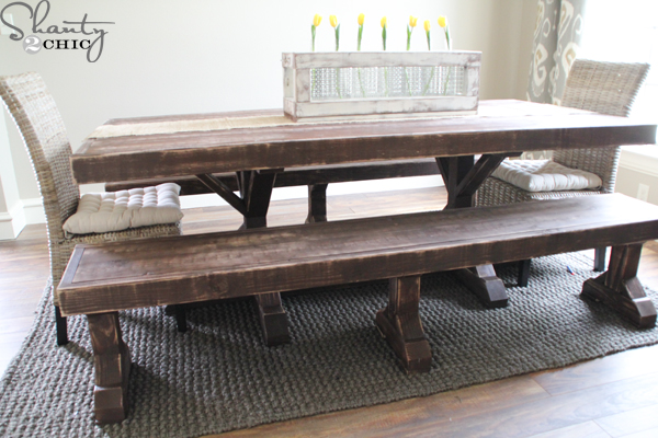 Wonderful DIY Dining Table And Benches