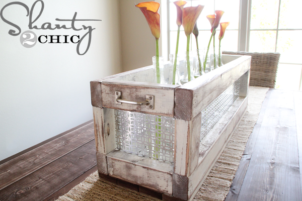 Diy wine bottle centerpiece shanty 2 chic for Wine crate diy