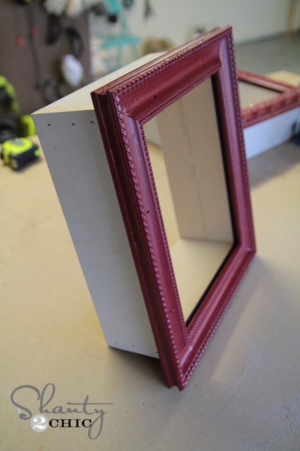 Diy frame shelves shanty 2 chic for Diy shadow box table