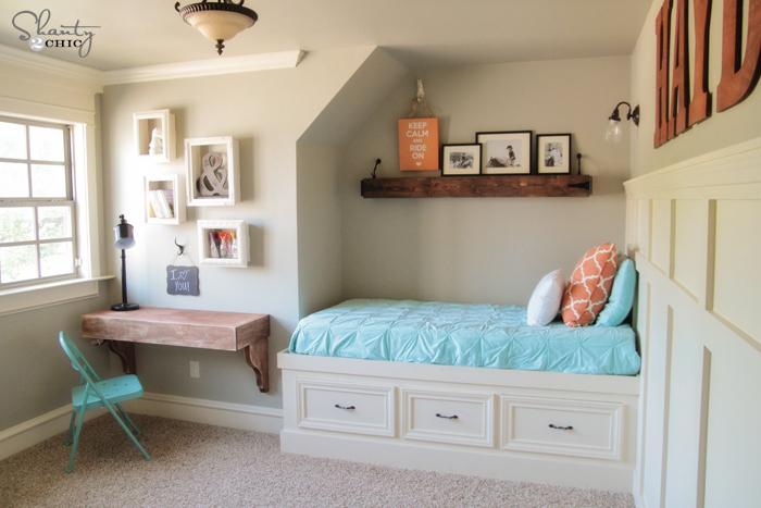 Diy frame shelves shanty 2 chic for Bedroom wall frames