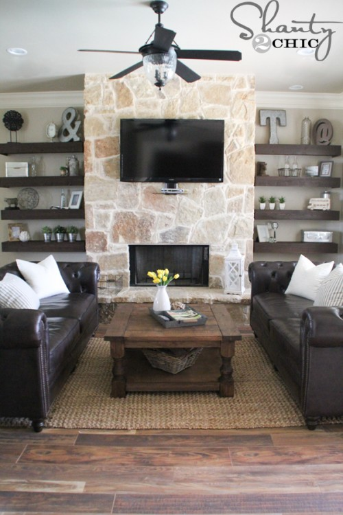 Floating Shelves around Fireplace