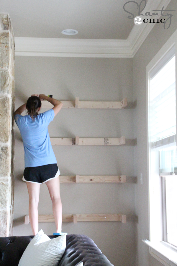 DIY Floating Shelves for my Living Room - Shanty 2 Chic