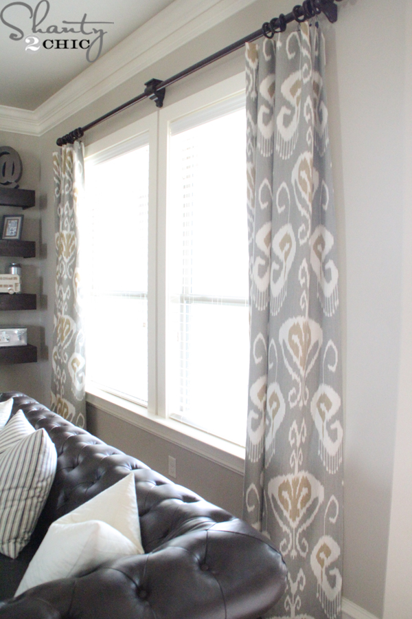Diy lined window panels shanty 2 chic for Lined valances for living room