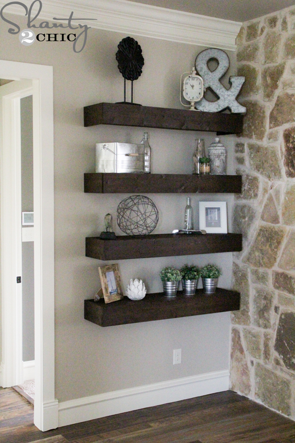 Diy Floating Shelves For My Living Room Shanty Chic