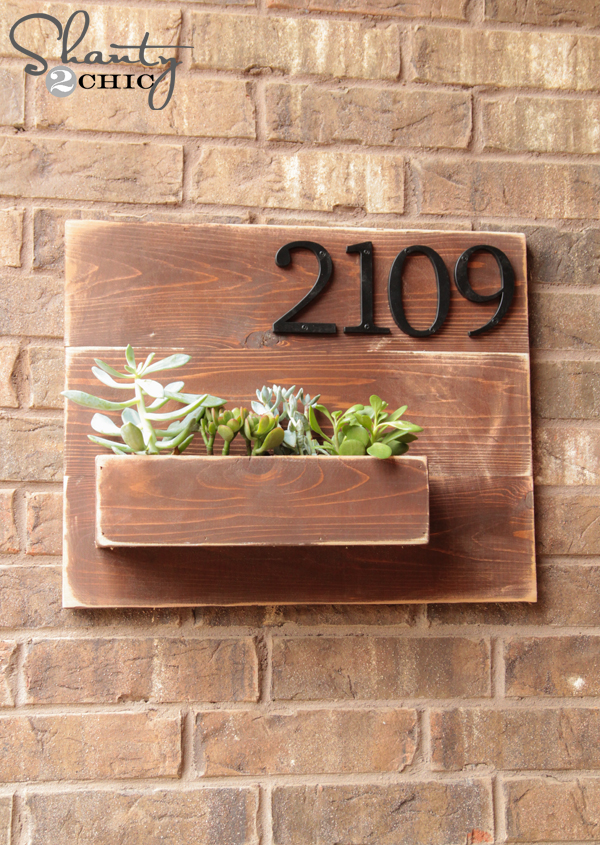 Diy address number wall planter shanty 2 chic - House number plaque ideas ...