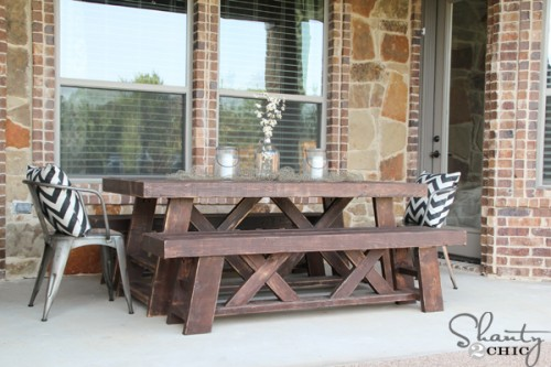 diy outdoor benches for my table shanty 2 chic. Black Bedroom Furniture Sets. Home Design Ideas