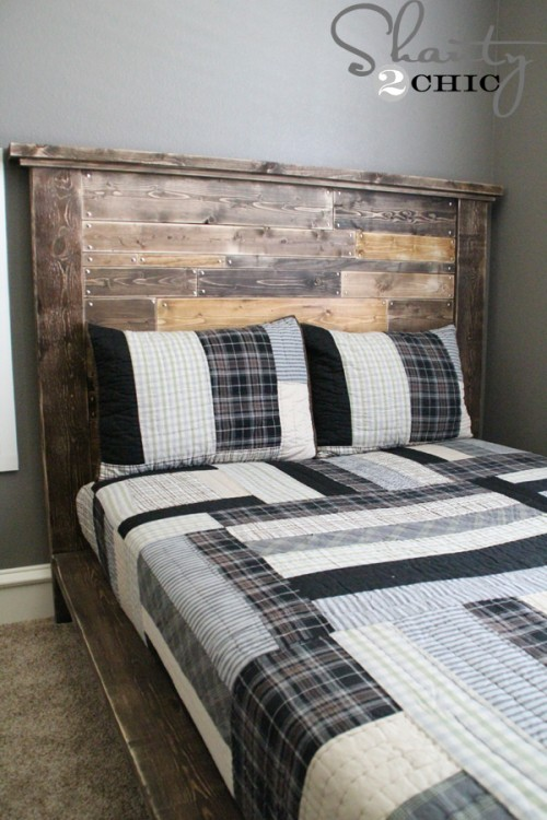 Diy planked headboard shanty 2 chic for How to make a wood pallet headboard