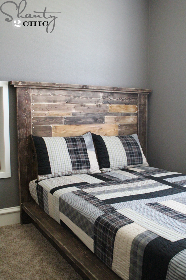 diy planked headboard shanty 2 chic. Black Bedroom Furniture Sets. Home Design Ideas
