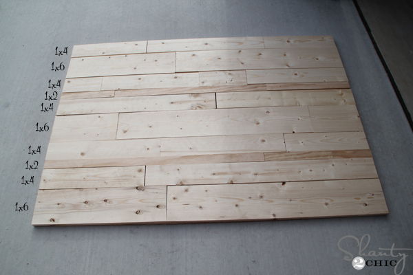 Next, I started cutting planks. This is a great project to use your scraps  on! I chose 1×2, 1×4 and 1×6 boards and you can see in this picture that I  ... - DIY Planked Headboard - Shanty 2 Chic