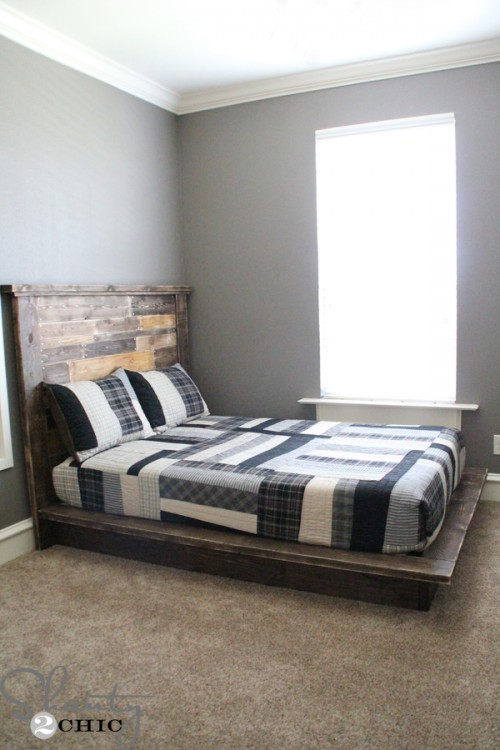 Easy diy platform bed shanty 2 chic for Simple diy platform bed