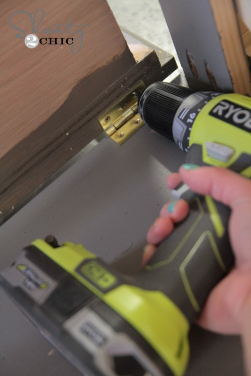 attach hinge with drill