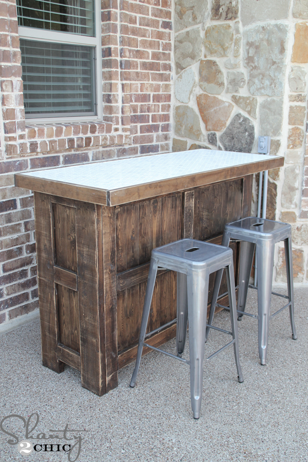 Diy tiled bar free plans and a giveaway shanty 2 chic for Diy balcony bar