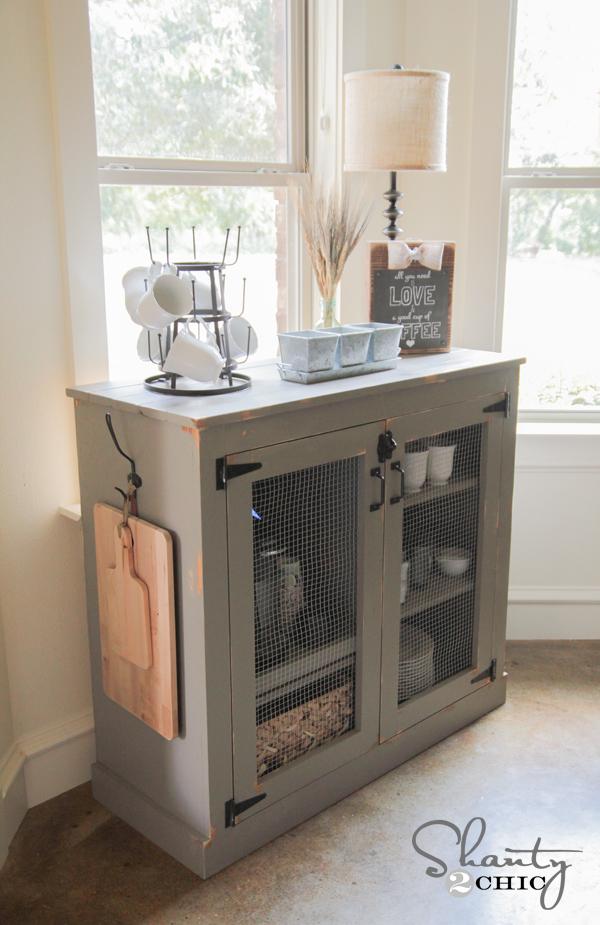 DIY Farmhouse Coffee Cabinet - Shanty 2 Chic on