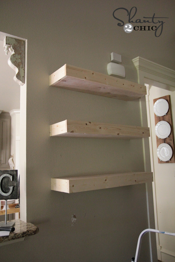 Diy floating wall shelves diy wood floating shelf how for Diy cassette shelf
