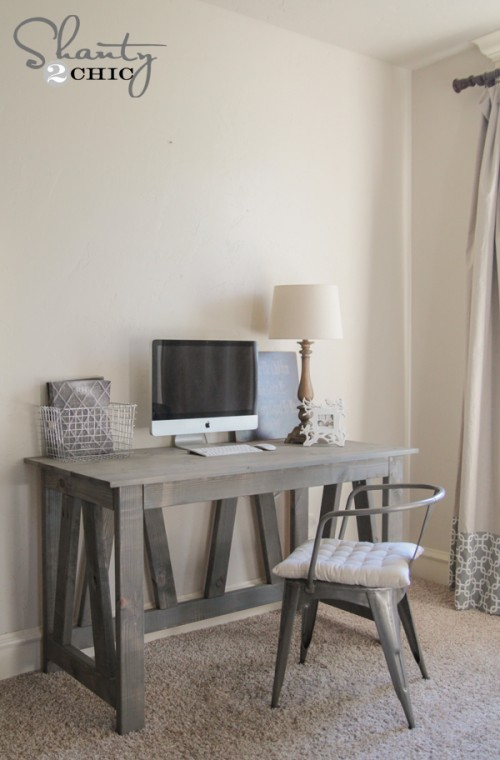 Free Woodworking Plans Rustic Truss Desk
