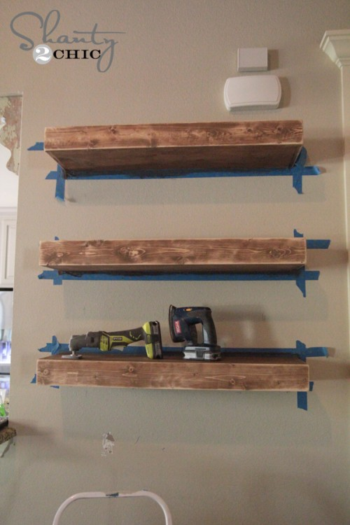 Diy floating shelves for How to make wood shelves on wall