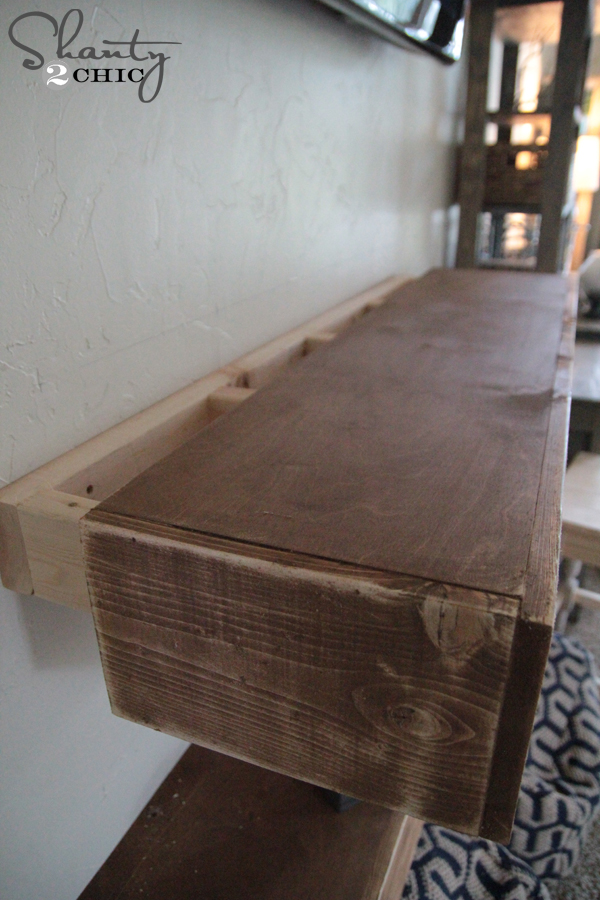 Diy media shelves free plans video tutorial shanty 2 for How to build a wall bar