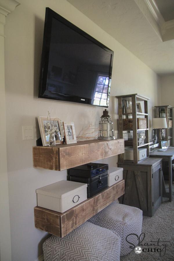 Floating Shelves Living Room Around Tv Modern