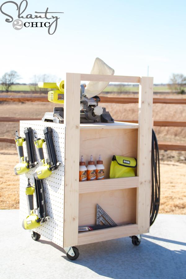 Diy air compressor cart for Rolling lumber cart plans