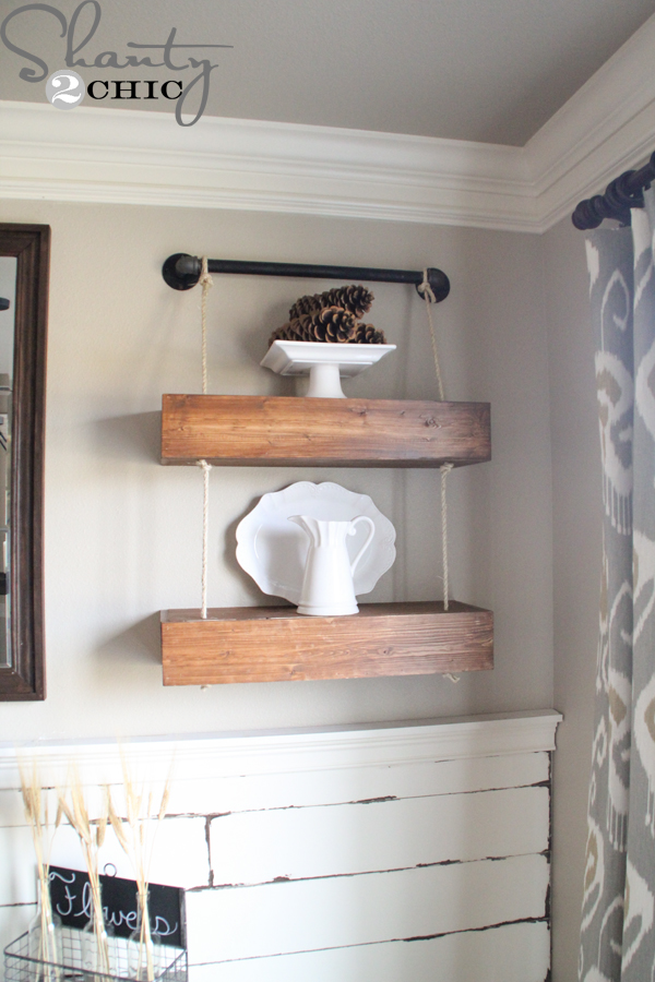 DIY-Shelves-with-Rope - Rope And Pipe Floating Shelves - Shanty 2 Chic