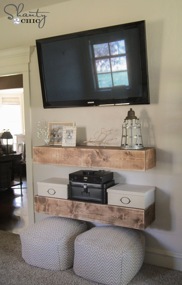 Diy media shelves shanty 2 chic How high to mount tv on wall in living room